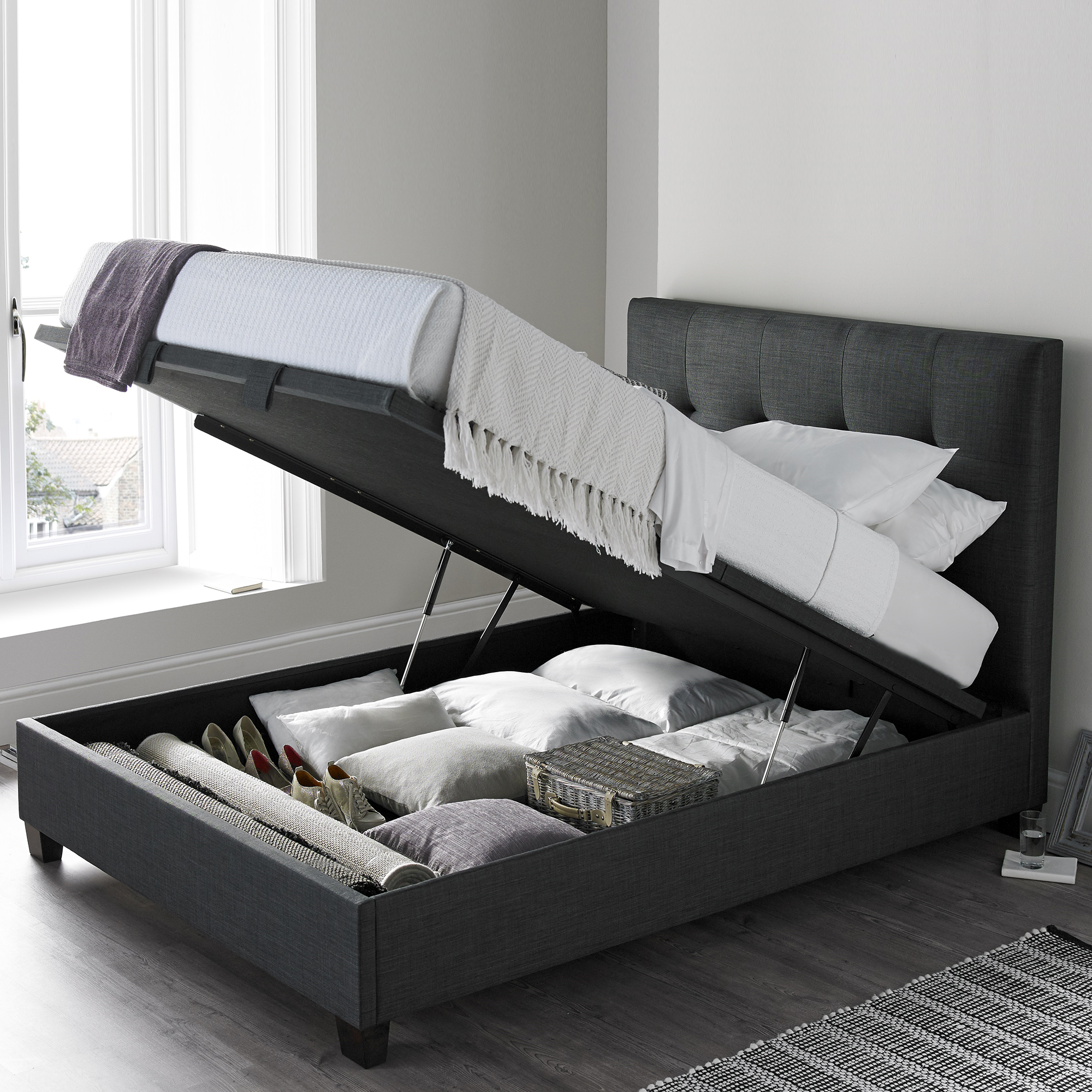 Ottoman In Bedroom Nicola Ottoman Bed Slate Fabric All Beds Fishpools