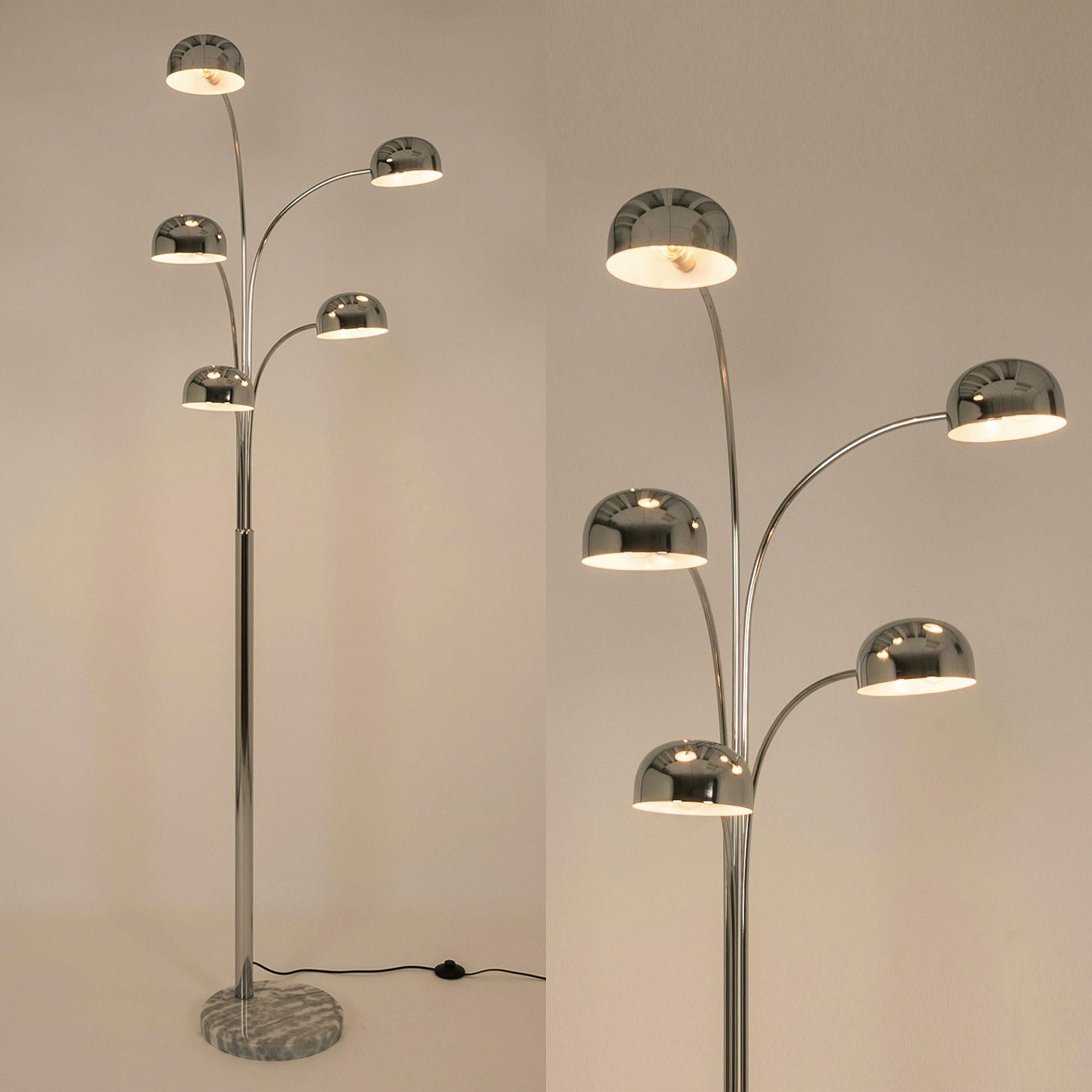 den 5 arm chrome floor lamp all lighting. Black Bedroom Furniture Sets. Home Design Ideas