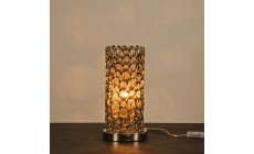 Aphrodite Nickel Tube Table Lamp On