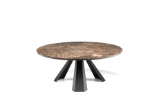 Cattelan Italia Eliot Round - Emperador Marble Top & Black Steel Base