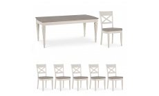 Chateau - Grey Washed Oak & Soft Grey 6-8 Extension Table & 6 x Back Chairs