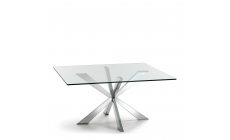 Cattelan Italia Spyder - Square Dining Table Inox Base With Clear Glass Top