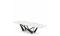 Cattelan Italia Skorpio Keramik - Dining Table Calacatta & Graphite Steel Base