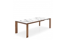 Calligaris - CS4058-LV Omnia 160cm Extending Dining Table White Marble Ceramic Top With Walnut Venee