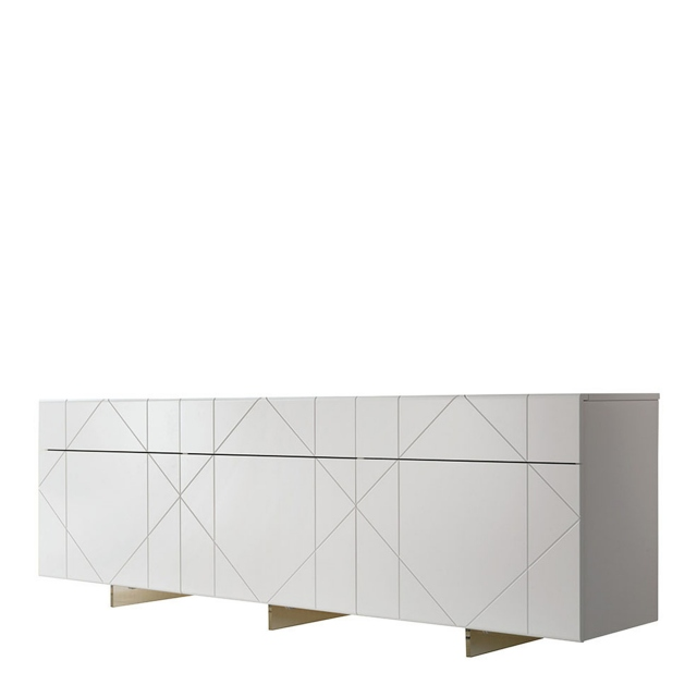 Cattelan Italia Tropez - 3 Door Low Sideboard White Lacquer