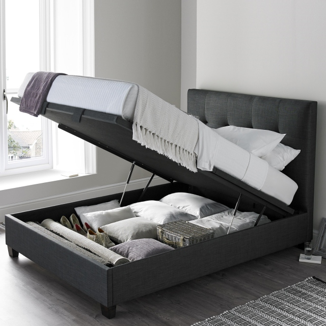 Nicola 135cm (Double) Ottoman Bed Slate Fabric (Self Assembly Required)