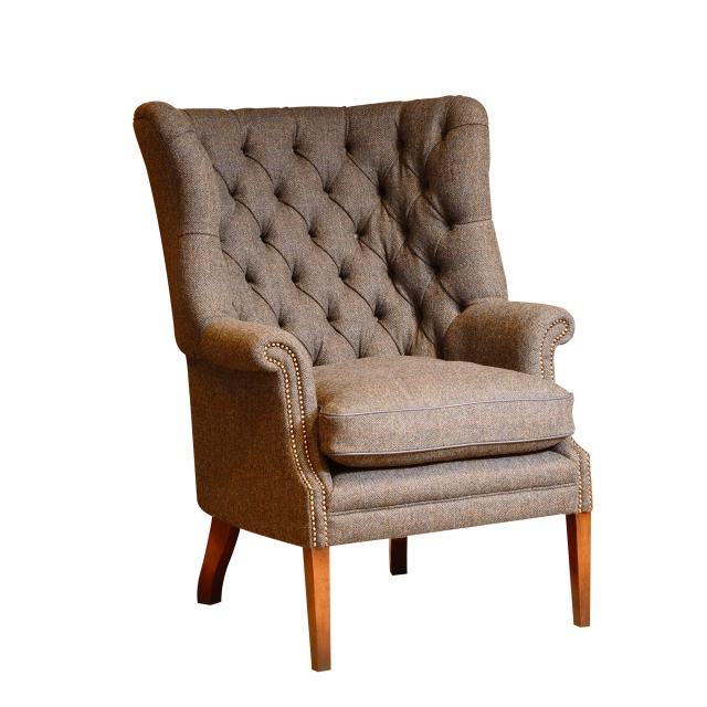 Tetrad MacKenzie - Wing Chair With Hide Piping & Buttons