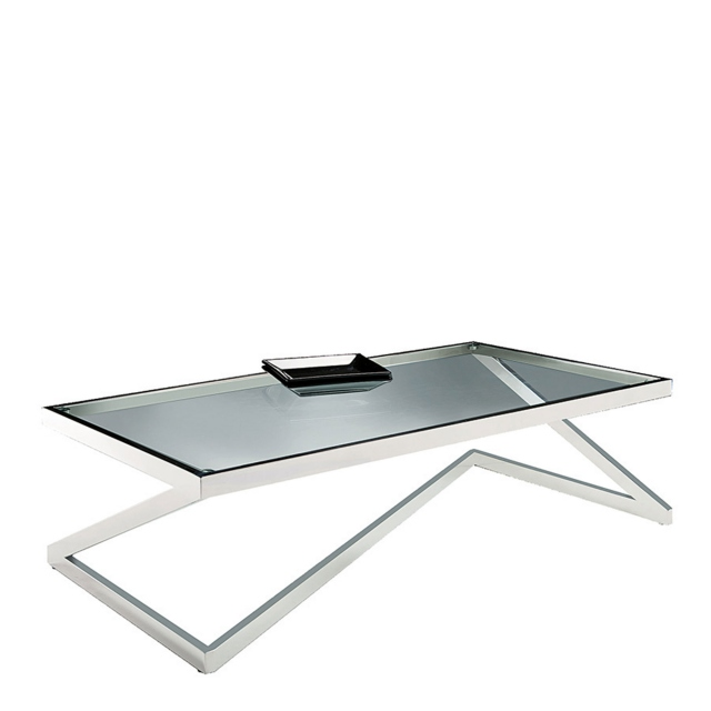 Rectangular Coffee Table Stainless Steel/Glass