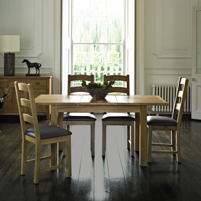 Triumph - Compact Extending Dining Table & 4 Ladder Back Chairs
