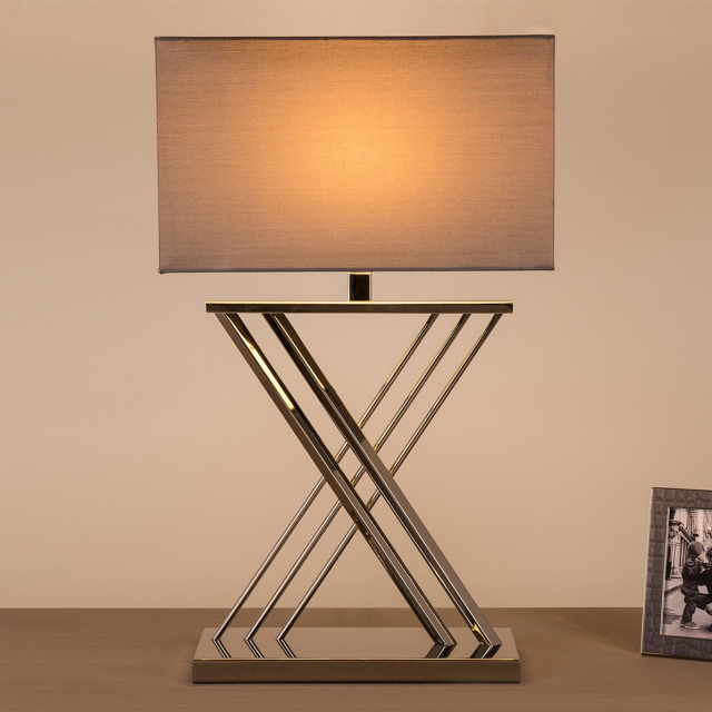 Xavier Table Lamp Nickle with Grey Rectangle Shade On
