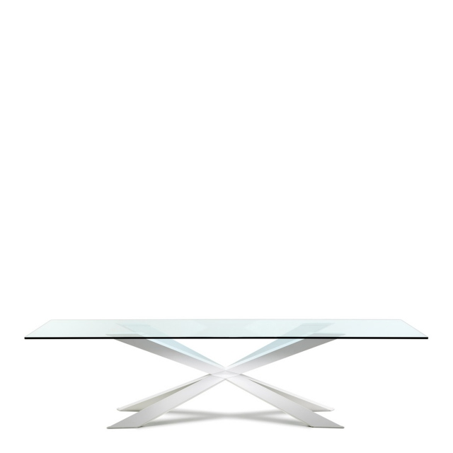 Cattelan Italia Spyder - Dining Table Inox Base With Clear Glass Top