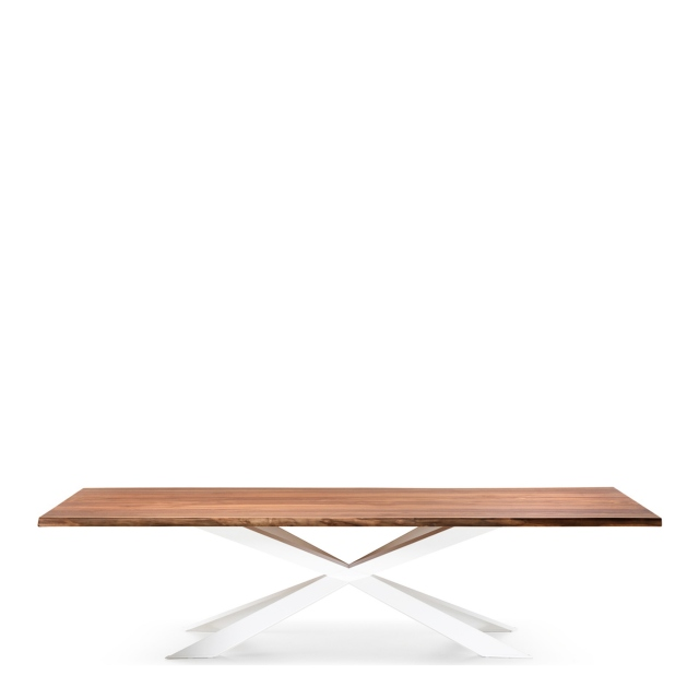 Cattelan Italia Spyder Wood - Dining Table Walnut Canaletto Top & Matt White Base