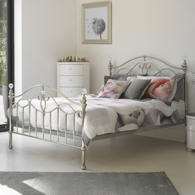 Satine - Slatted Bedstead Shiny Nickel Finish