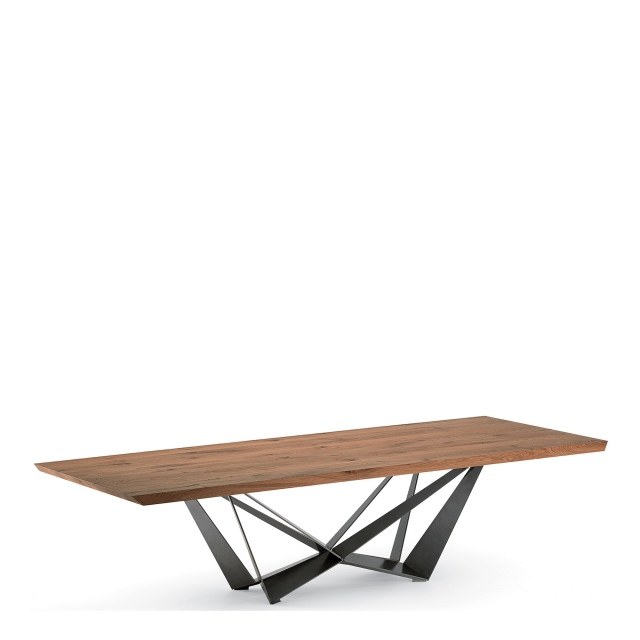 Cattelan Italia Skorpio Wood - Dining Table With Canaletto Walnut Top & Black Steel Base