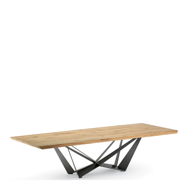 Cattelan Italia Skorpio Wood - Dining Table With Heritage Oak Top & Black Steel Base