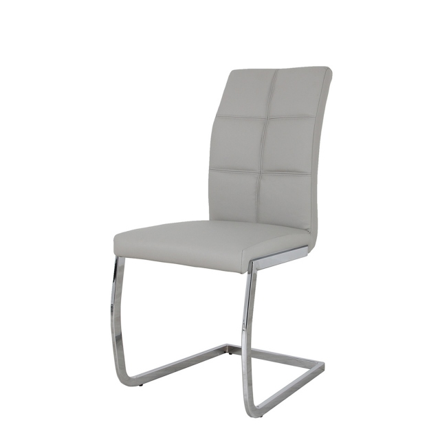 Jordan - Dining Chair Light Grey  PU Leather