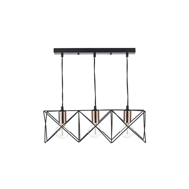 Midi 3 Bar Pendant Black Copper