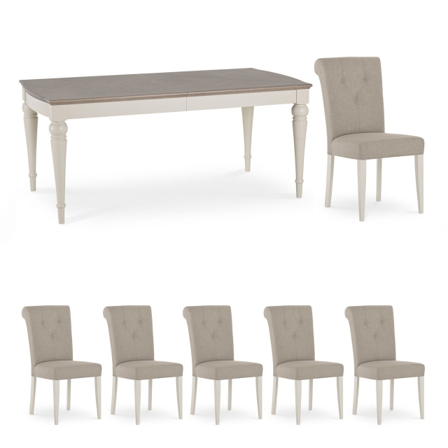 Chateau - Grey Washed Oak & Soft Grey 6-8 Extension Table & 6 Upholstered Fabric Chairs