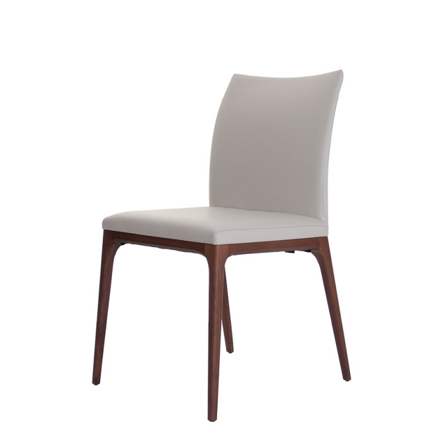 Cattelan Italia Arcadia - Dining Chair Standard Back Soft Leather And Walnut Legs