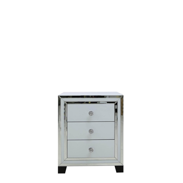 Madison - 3 Drawer Bedside Cabinet White Clear & Mirror Finish