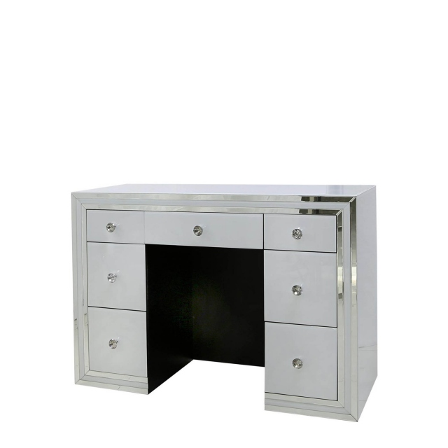 Madison - 7 Drawer Dressing Table White Clear & Mirror Finish