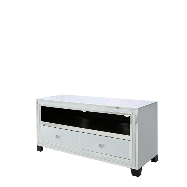Madison - 2 Drawer Entertainment Unit White Clear & Mirror Finish