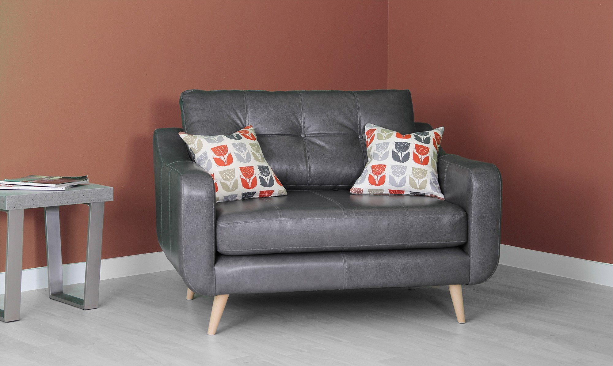 poppy leather snuggler chair