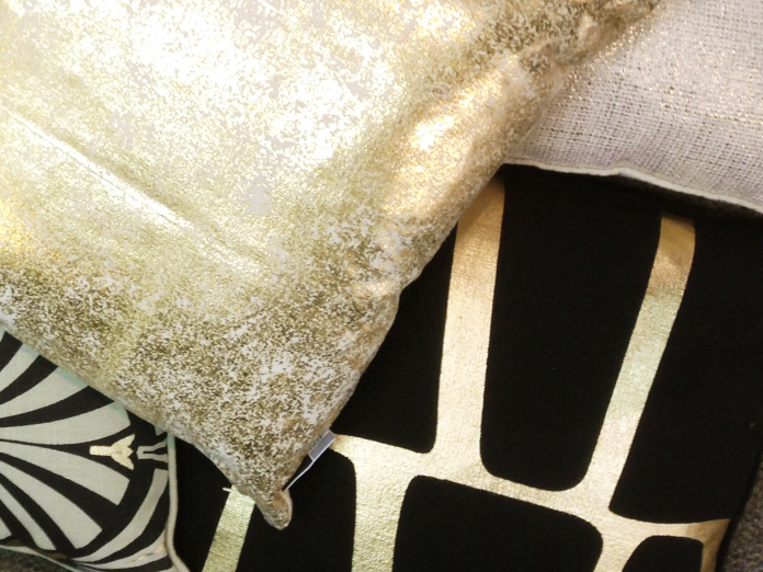 black and gold cushions