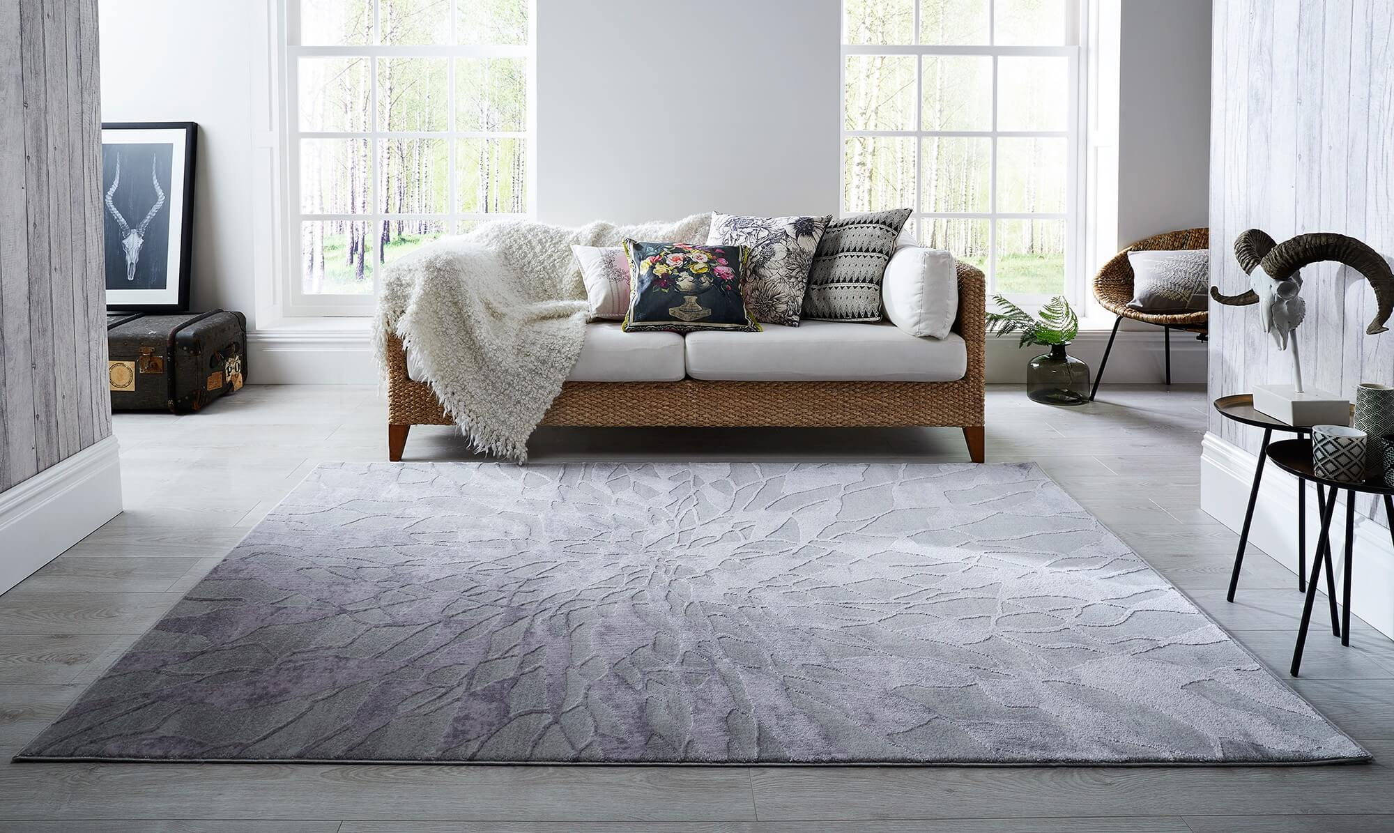 Gorgeous Alpaca grey rug from Fishpools in modern home