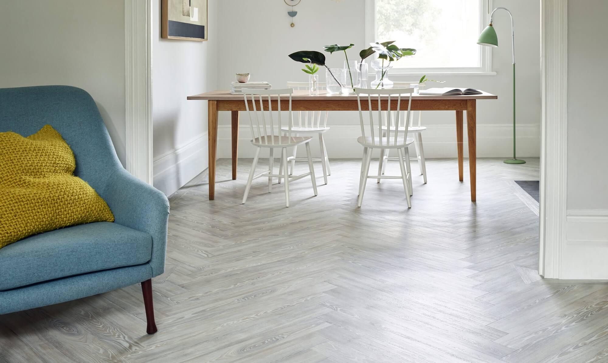Light wood flooring in family home