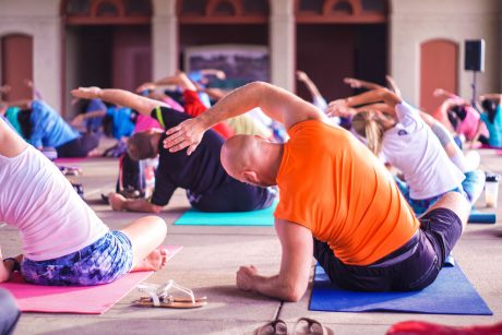 Flexible people getting stronger through yoga