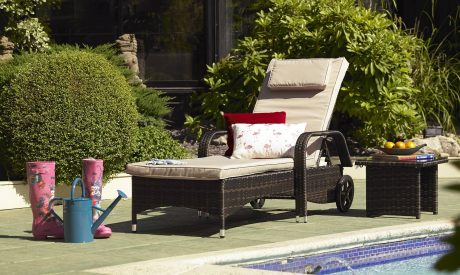 Nassau sunbed rattan lounger from Fishpools outdoor furniture range