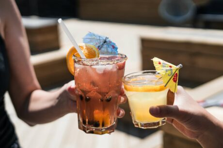 Summer cocktails on a rooftop bar