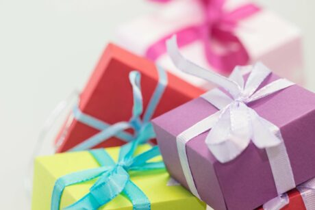 Colourful presents neatly wrapped for Father's Day