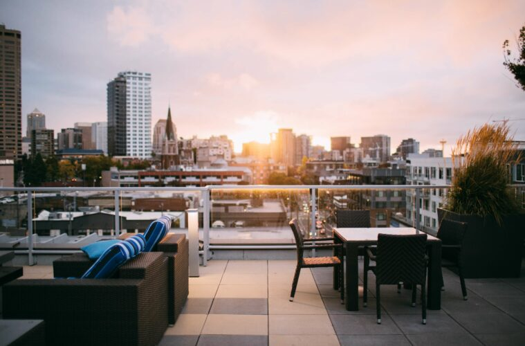 Sunset over a rooftop bar