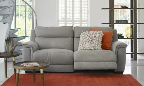 Grey recliner fabric sofa, Monza, with bright cushions