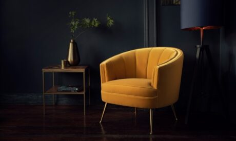 Polly occasional chair in yellow velvet