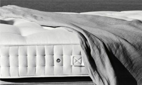 Black and white mattress close up