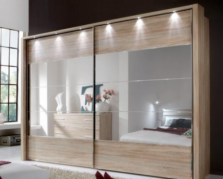 Aria Sliding Door Wardrobe including frame and lights