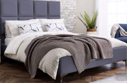 Myers fabric Savannah bed frame in Armour Grey