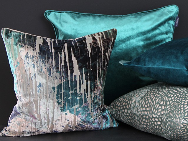 Teal & green cushions