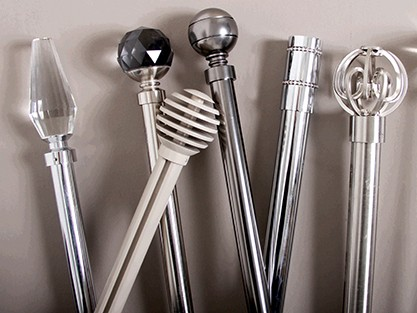 All metal curtain poles