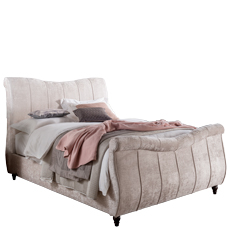 TV Ottoman Bed In Silver Crushed Velvet - Acropolis