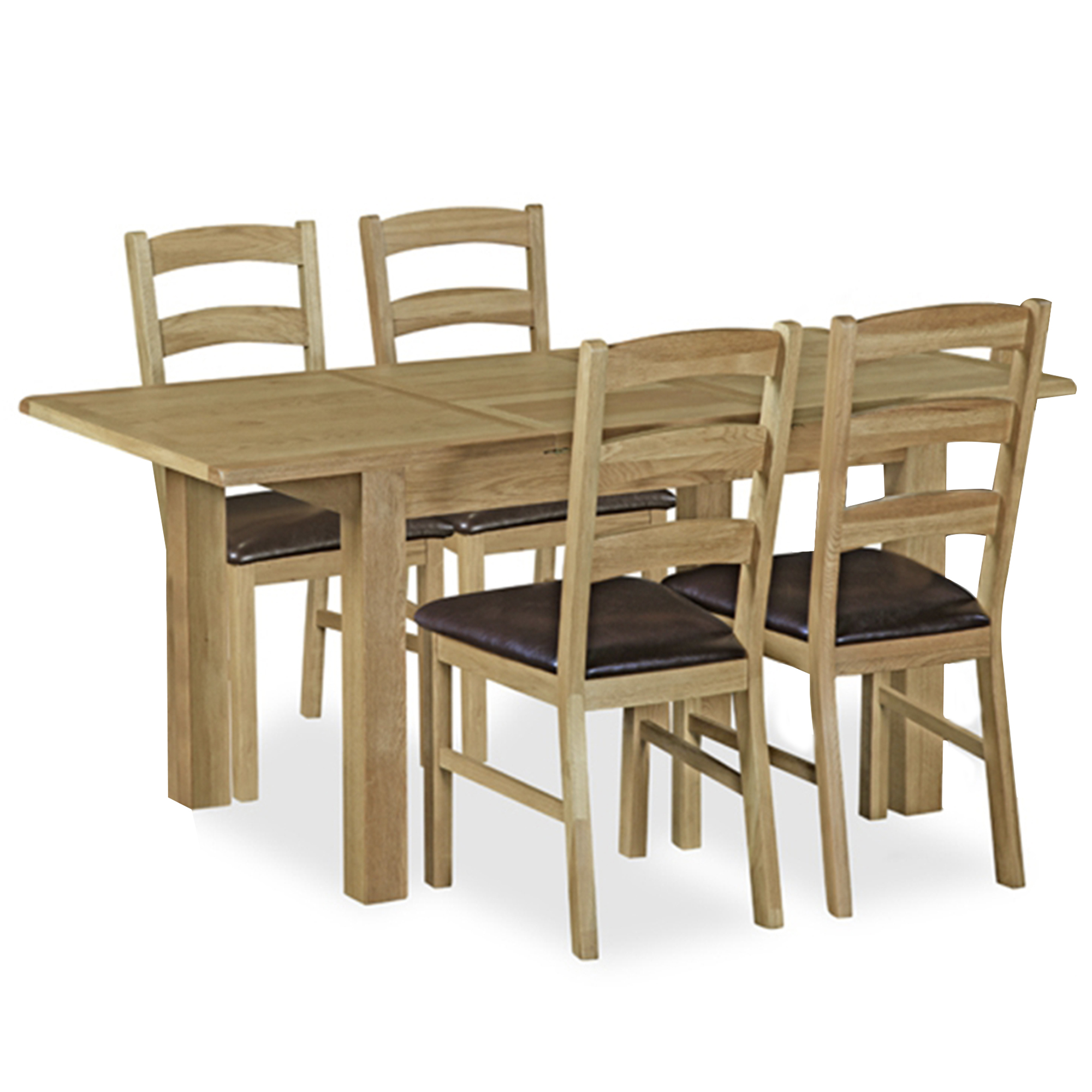 Triumph - 120cm Compact Extending Dining Table & 4 Ladder Back Chairs