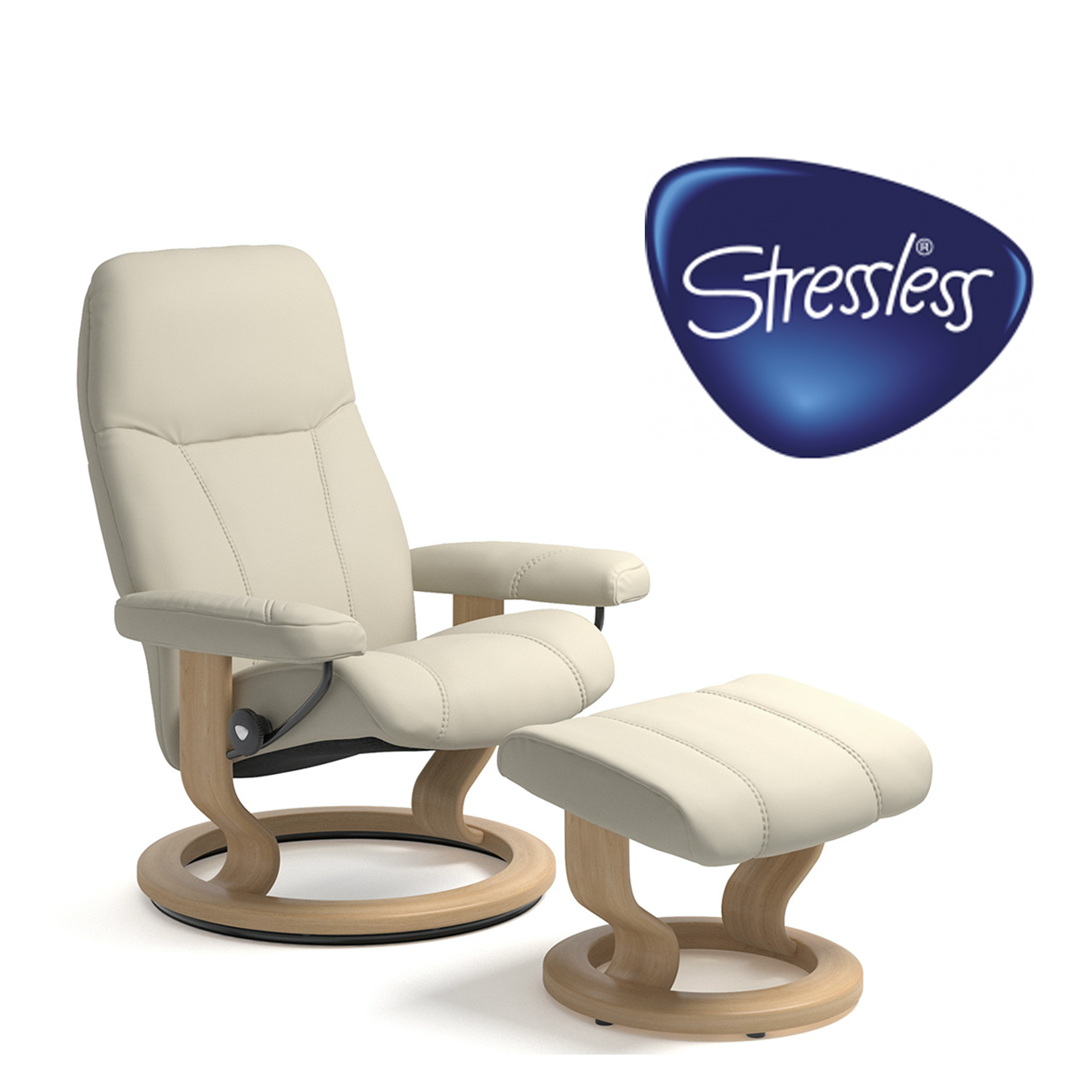 Stressless Consul Promo Medium - Chair & Stool In Batick Cream Leather With Oak Finish Frame