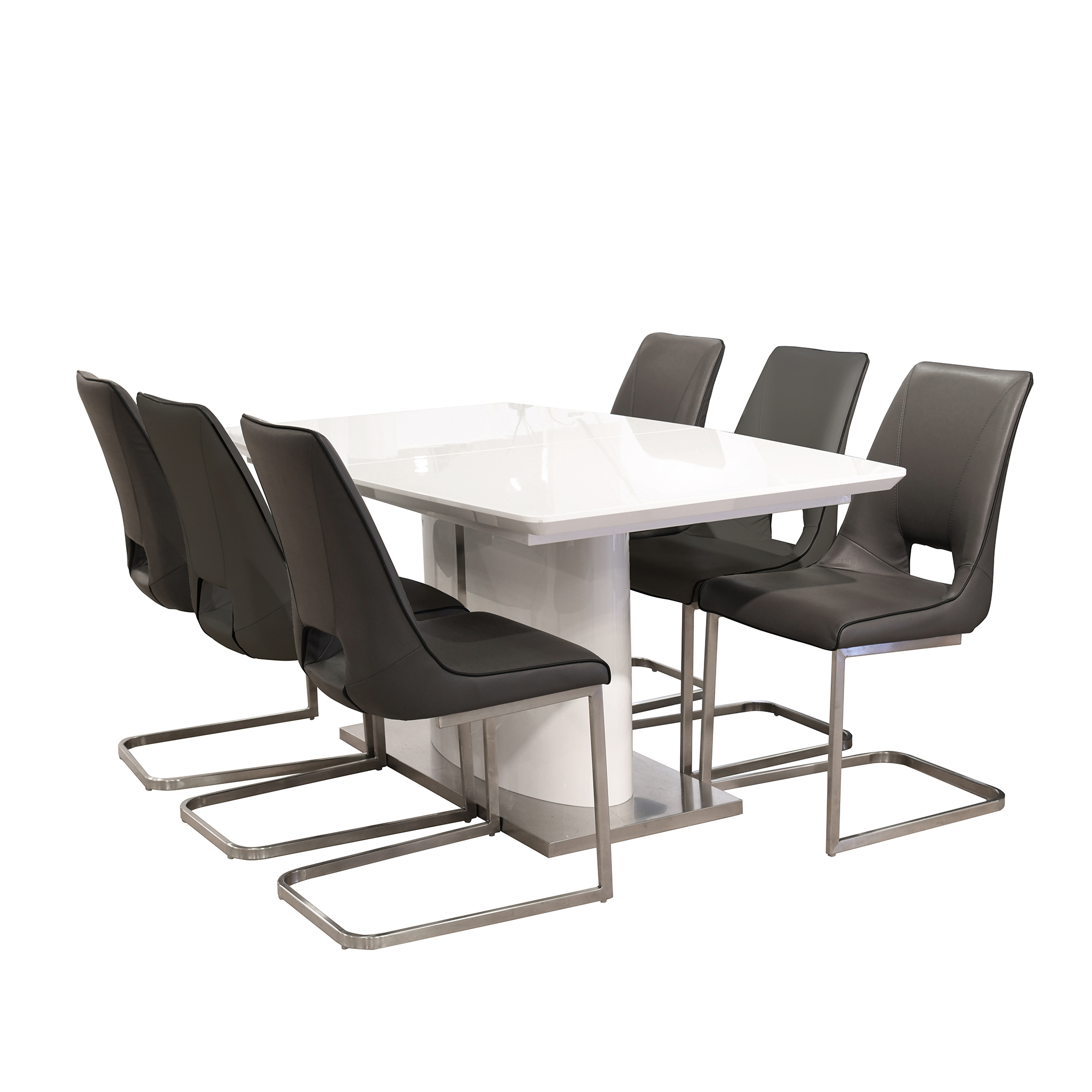 Zeus - 160cm Extending Dining Table & 6 Fushun Chairs In Dark Grey