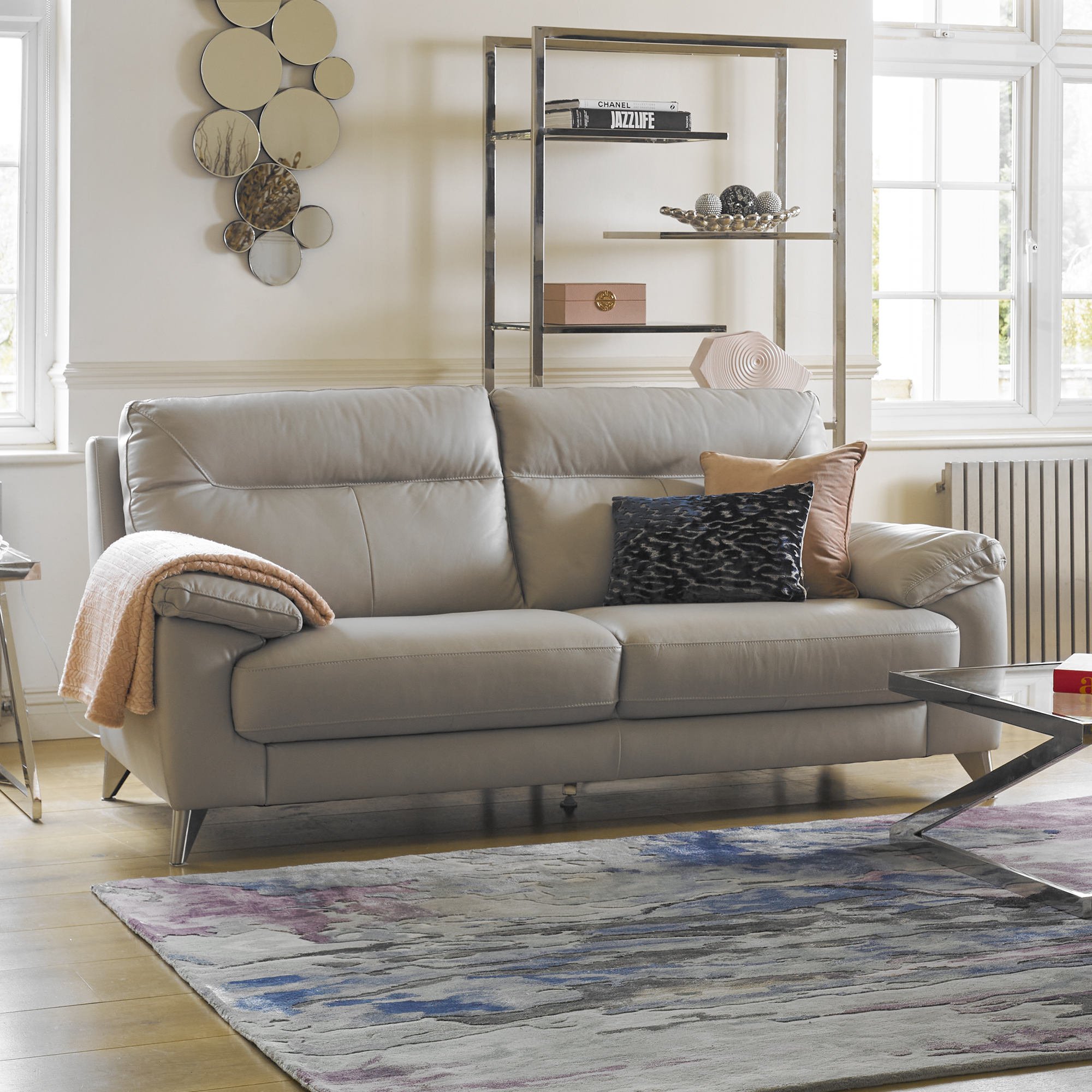 Lecce - 3 Seat Sofa In Leather Cat 13 M/Split M/S 3010 Dove