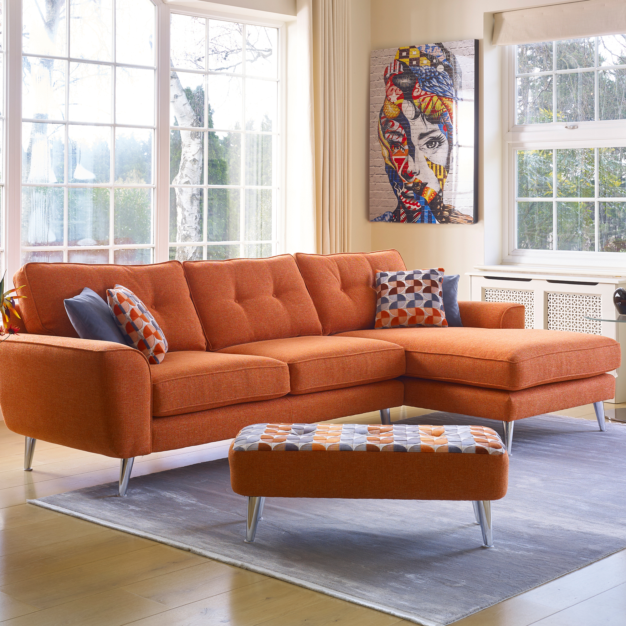 Malaga - Large Chaise Sofa RHF In Fabric
