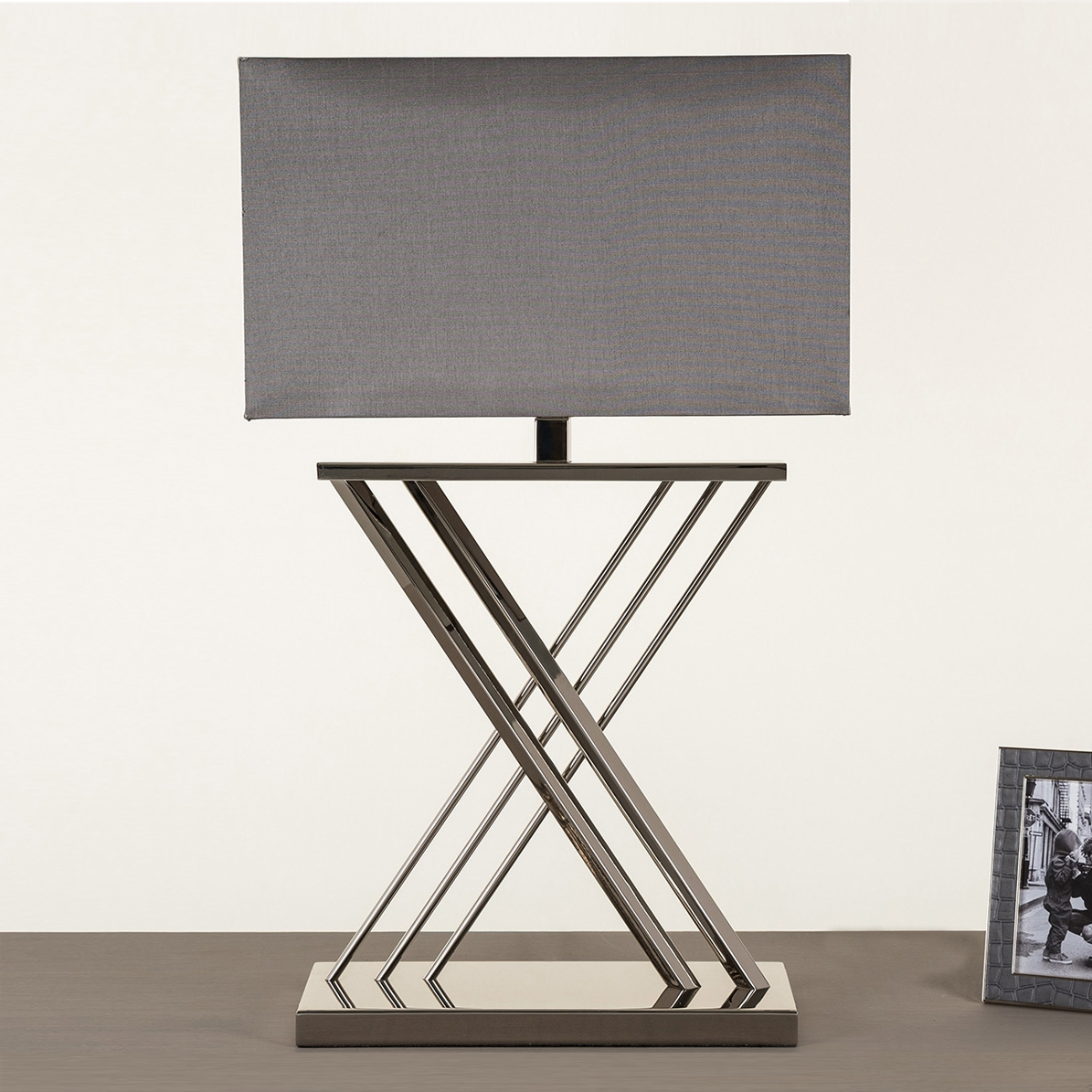 Xavier Table Lamp Nickle With Grey Rectangle Shade Table