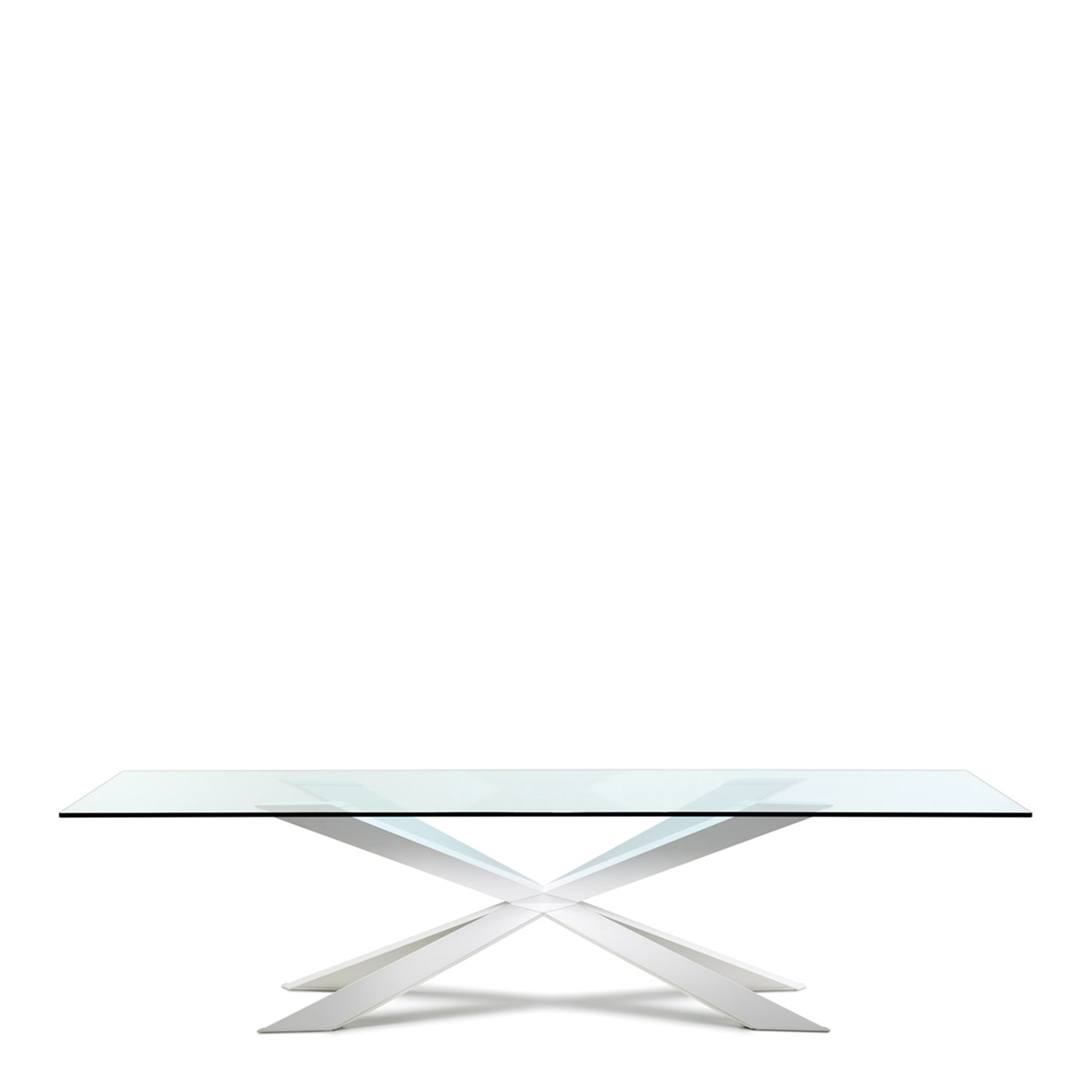 Cattelan clear glass dining table fishpools for Table armoire inox
